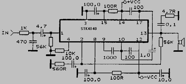 усилитель на stk403-100 схема