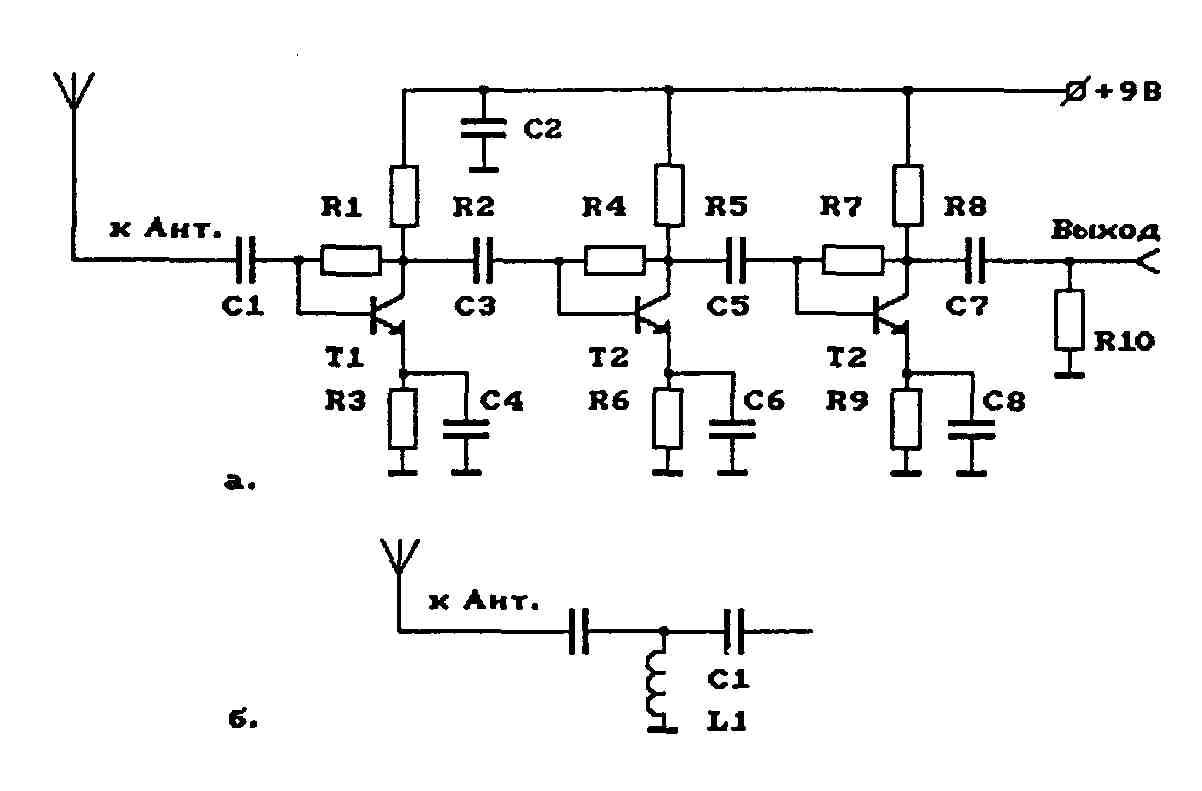 Схемы антенного усилителя