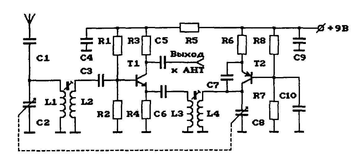 Схема АМ-конвертера (KB в СВ)