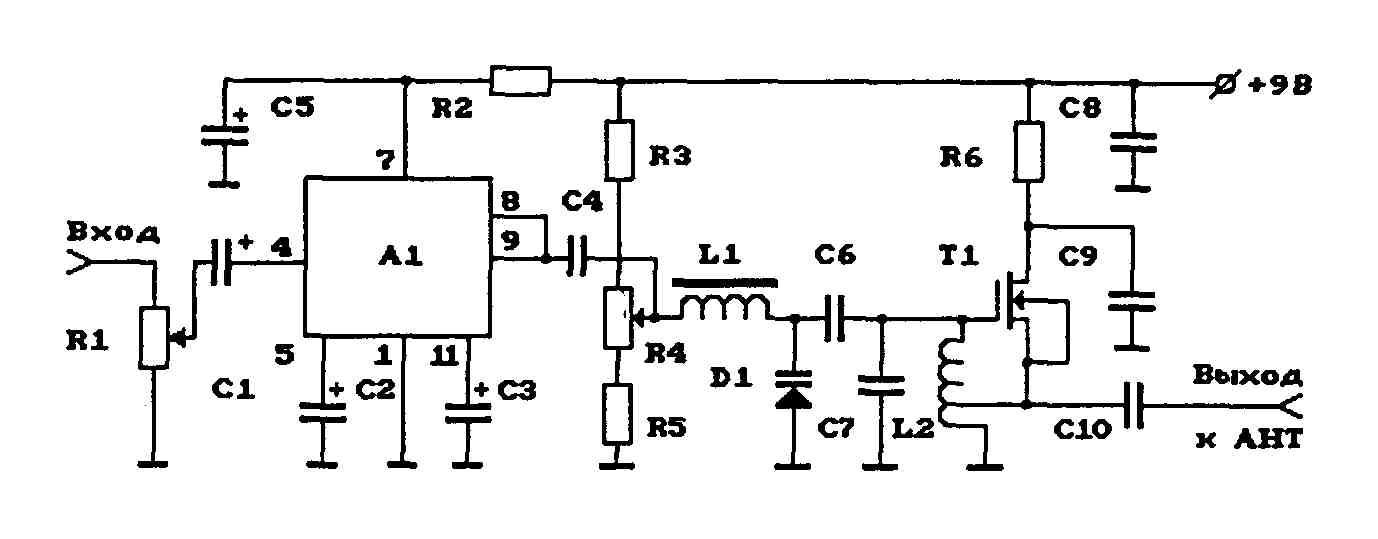 Схема УКВ ЧМ-передатчика на